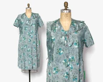 Vintage 50s Plus Size Day Dress / 1950s Unworn Aqua Teal Floral Clover Print Dress XL Plus Sized