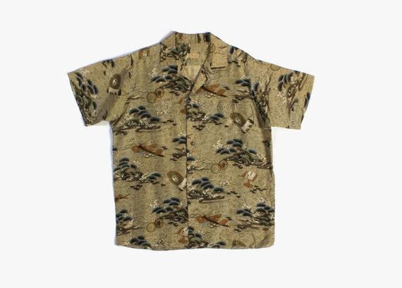 Vintage 50s Silk Hawaiian Shirt / 1950s Men's Japa