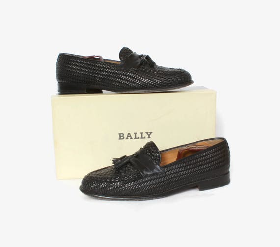 616499eba2c2a Vintage Men's Bally Leather Loafers / Black Woven Tassel Loafers 10