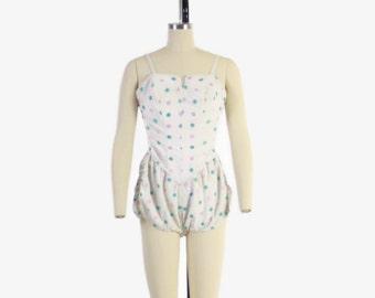 Vintage 50s Rose Marie Reid SWIMSUIT / 1950s Pink & Blue POLKA DOTS Ruched Bubble Bathingsuit S - M
