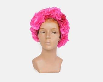 Vintage 60s Floral HAT / 1950s Shocking Pink Velvet Trim Sally Victor Statement Hat