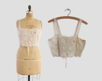 1920s Bobbin LACE Camisole BRA / Edwardian - 20s Ivory Silk & Lace Cami Top S - M