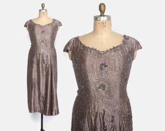 Vintage 50s Beaded DRESS / 1950s Heavily Beaded Satin Party Dress L