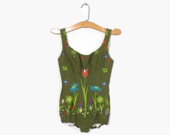 Vintage 60s Floral SWIMSUIT / 1960s Green Cotton One Piece Swim Suit XS