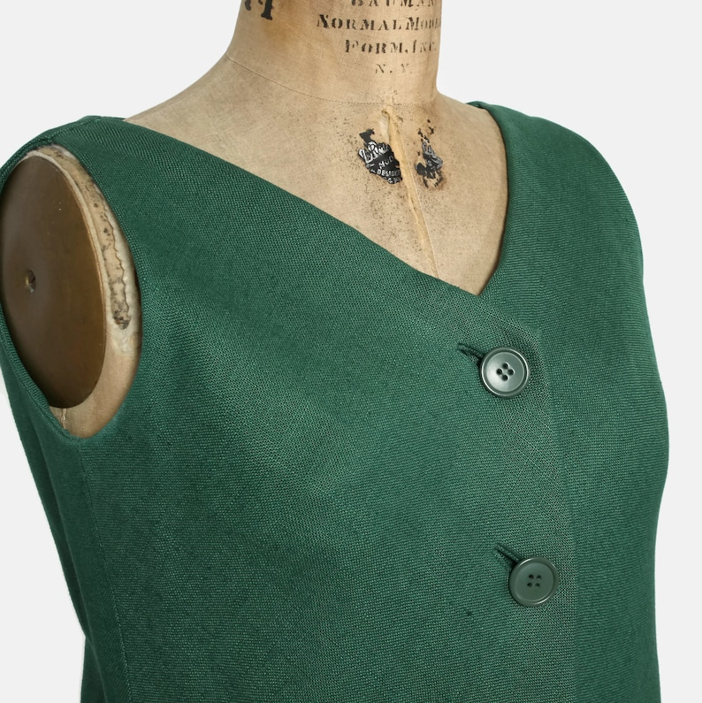 dcea83bcea8 Vintage 60s GEOFFREY BEENE Dress   1960s Mod Green Linen Drop