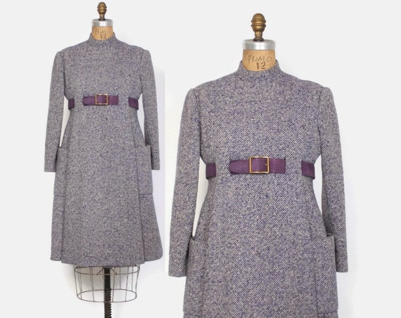 d7c56d41c14 Vintage 60s GEOFFREY BEENE Dress   1960s Purple Tweed Wool Mod