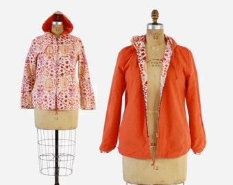 Vintage 60s Hoodie JACKET / 1960s Bright Orange Folk Floral Reversible Hooded Spring Jacket
