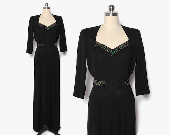 Vintage 40s Green Rhinestone Studded Dress / 1940s