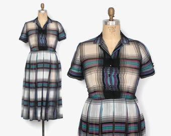 Vintage 50s Day Dress / 50s Semi Sheer Bright Plaid Cotton Rockabilly Dress M - L