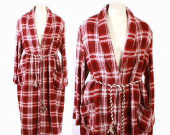 Vintage 60s MENS ROBE / 1960s RED Plaid Cozy Flannel Belted Dressing Gown l - xl