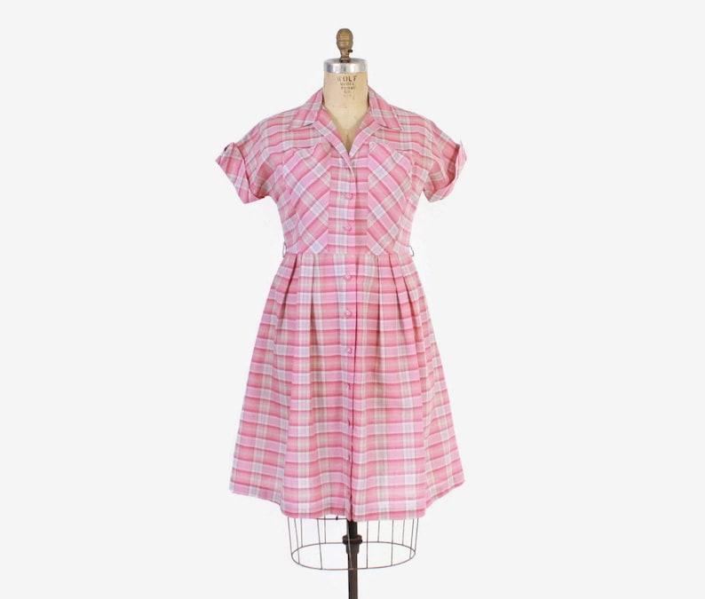 Vintage 50s Plus Size DRESS / 1950s Pink PLAID Cotton Shirtwaist Day Dress  XL
