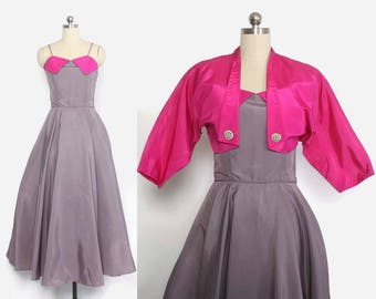 Vintage 50s Party DRESS / 1950s Emma Domb 2-Tone Formal Gown & Bolero Jacket Set S