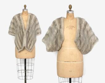 Vintage 60s MINK STOLE / 1960s Silver Gray Sapphire Mink Fur Convertible Wrap Jacket