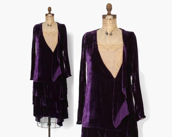 Vintage 20s Velvet Dress / 1920s Purple Velvet & L