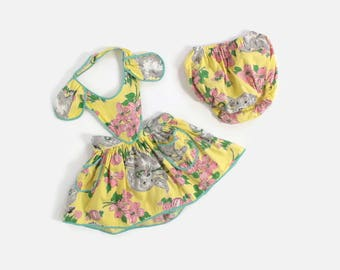 Vintage 50s Girl's Pinafore Set / 1950s Little Girl's NOVELTY Print Puppy Dog Ears Cotton Dress 2T
