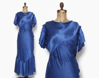 Vintage 30s EVENING GOWN / 1930s Blue Satin Bias Cut Ruffled Formal Dress M - L