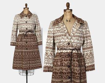 Vintage 60 Printed Brown Jacket / 1960s Belted Cotton Twill Coat M