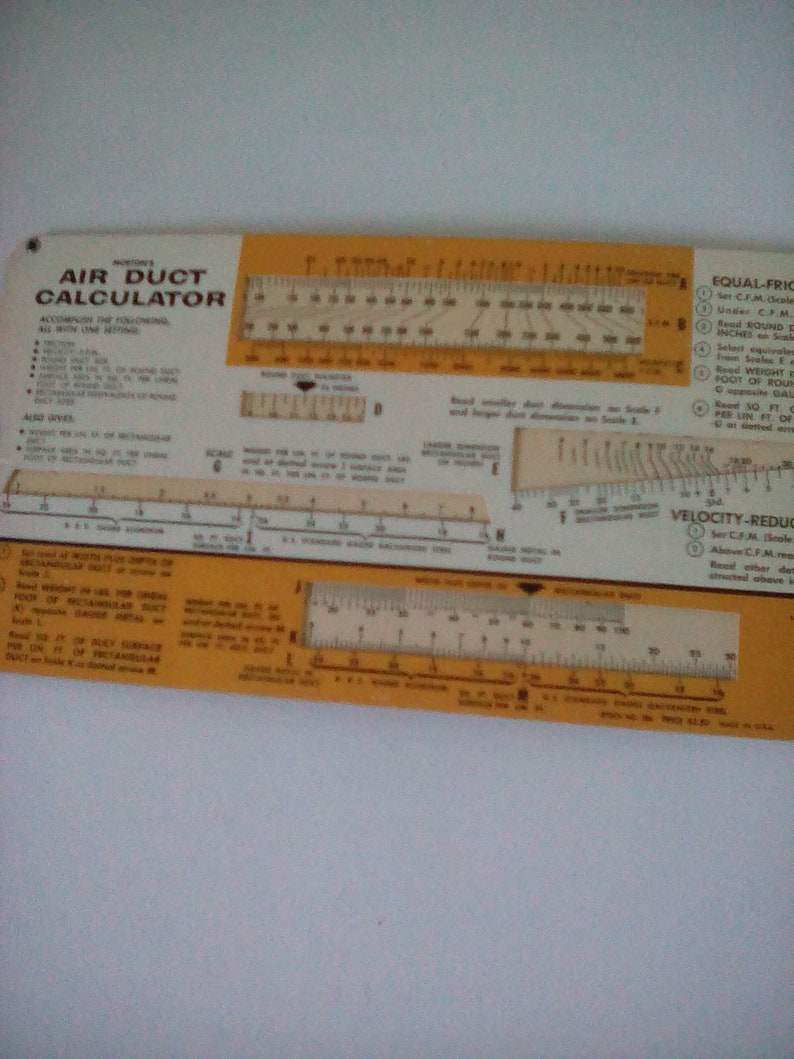 Morton's Air Duct Calculator Printed for General Electric - Advertising  Gadget - Slide Rule Calculator - Vintage - 1960