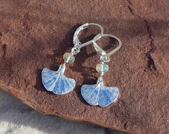 Ginkgo biloba  - Baby Leaf with Opal - October Birthstone - Handmade Pure Silver Earrings  by Quintessential Arts