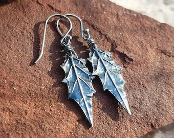 Datura stramonium - Moonflower Leaf (Jimsonweed, Thorn-Apple) Earrings in Pure Silver - Oxidized Finish  by Quintessential Arts