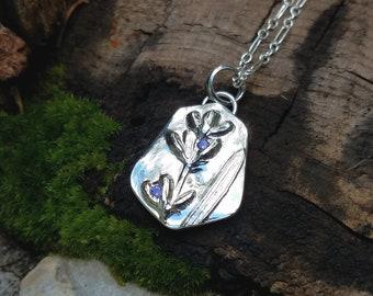 Lavandula angustifolia - Lavender Amethyst CZ Gem Pendant- Recycled Eco-Friendly Silver -   by Quintessential Arts