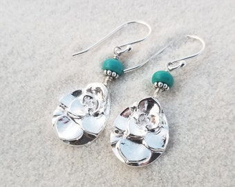 Succulent Drops - Turquoise - Pure Silver Real Botanical Leaf Earrings  by Quintessential Arts