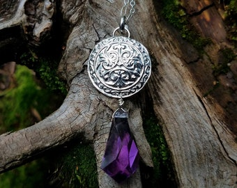 Antique Medallion - Pure Silver Pendant with Faceted Amethyst  by Quintessential Arts