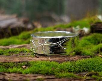 Maidenhair Fern - Handmade Artisan Pure Silver Ring - Size 9 3/4 by Quintessential Arts