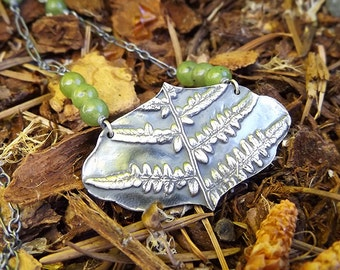 Forest Treasure - Fern - Fine Silver Necklace with British Columbia Jade- Botanical Jewelry   by Quintessential Arts