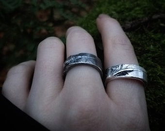 Nevermore - Crow Feather - Handmade Artisan Pure Silver Ring -Thicker Version-  by Quintessential Arts