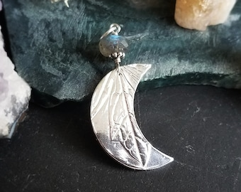 Crow Feather Moon Pendant in Pure Silver with Herkimer Diamond  by Quintessential Arts