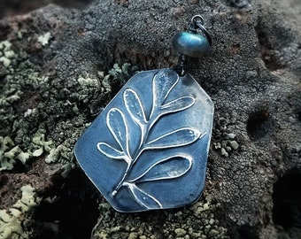 Ruta graveolens - Rue - Pure Silver Large Gem Pendant with Labradorite - Botanical Jewelry   by Quintessential Arts