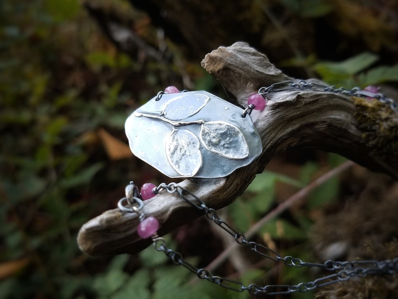 Vaccinium parvifolium Artisan Pure Silver Necklace with Genuine Ruby   by Quintessential Arts Huckleberry Leaf