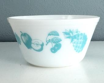 Vintage Federal Glass Ovenware Fruit Bowl, Turquoise Pyrex Style Medium Bowl, Antique Glass Serving Dish, Farmhouse Kitchen, Vintage Kitchen