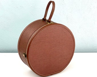 Vintage Round Tweed Suitcase, American Tourister Suit Case, Hat Box, Vintage Suitcase, 1950s Hard Shell Luggage