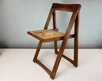Vintage Mid Century Danish Style Wood Folding Chair With Cane Base, Modern  Cane Folded Chair, MCM Fold Chair