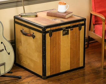 Vintage OshKosh Square Trunk, Steamer Trunk, OshKosh Chief, Trunk End Table, End Table, 1940s Living Room Decor