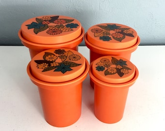 Vintage Kitchen Canister Set, 1970s Kitchen Canisters, 1960s Kitchen Decor, Orange Canisters
