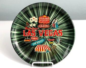 Vintage Las Vegas Souvenir Plate, 1960s Casino Wall Hanging Collectible Plate