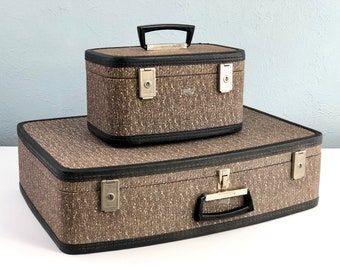 Vintage Suitcase Set by Towncraft, Tweed Suitcase, Vintage Train Case, Luggage Set