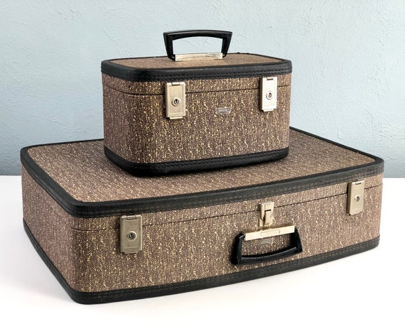 Vintage Suitcase Set by Towncraft, Tweed Suitcase,