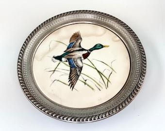 Antique WS Blackinton Silverplate Round Tray with a Vintage Delano Studios Mallard Duck Tile