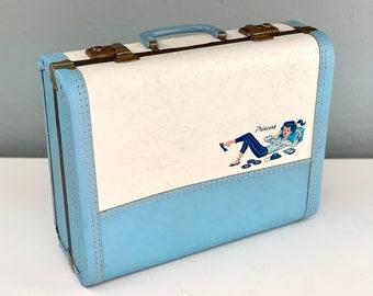 Vintage Princess Suitcase, Vintage Teenager Suitcase, Childs Suitcase, 1960s Suitcase, Small Blue Luggage
