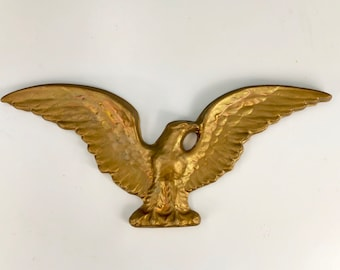 Vintage American Eagle Wall Hanging, Early American Home Decor, Ceramic Golden Bald Eagle Wall Art