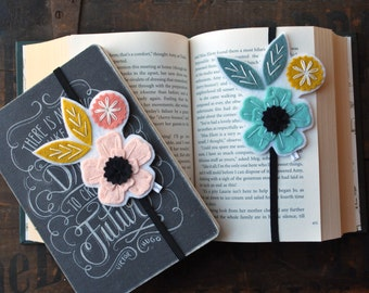 Teacher Gift - Booklover Gift - Elastic Book Band Set- Planner Bookmark - Planner Band - Flower Bookmark - Book Club Gift - Elastic Bookmark