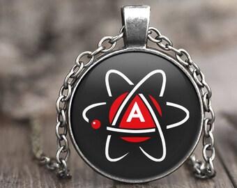 Atheist Symbol Necklace, atheist jewelry, atheist pendant necklace, atheist gift, atheism, science jewelry, atheist christmas gift, atheist