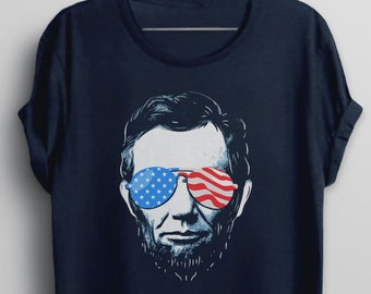 504822399 4th of July Shirt, Funny T shirt, Fourth of July Abe Lincoln Shirt,  Independence Day Tee, American Flag Tshirt, Abraham Lincoln Sunglasses,