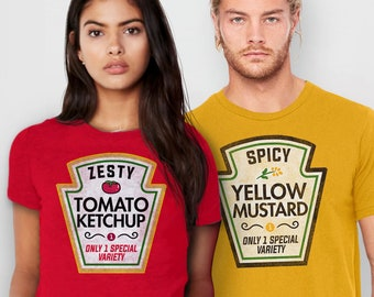 4628fc7a Ketchup and Mustard Couples Halloween Costume Shirts | Matching His and Her  Tshirts, Funny Husband Wife Tees, Cute Halloween T Shirts Couple
