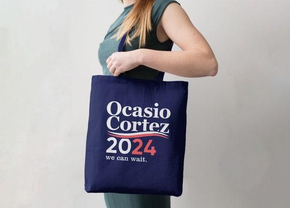 Feminist Valentine Gift for Democrat Alexandria Ocasio-Cortez Canvas Tote AOC Heart Tote Bag