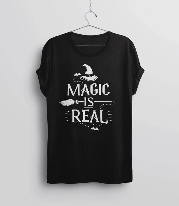 Magic is Real Halloween Witch Adult Mens Fashion Long Sleeve Sweater T Shirts